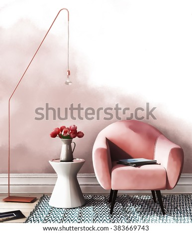 Sketch of interior in pink-and-blue color with a chair, a table and stylish copper floor lamp - stock photo