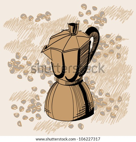 Sketch of mocha coffee maker with some coffee beans over brown background. Raster version of the vector image - stock photo