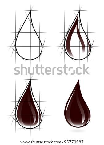 Sketch of oil drop - stock photo