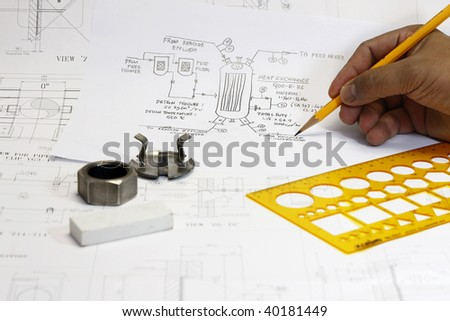 Sketch of Pressure vessel - concept for engineering and construction. - stock photo