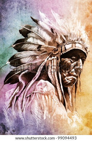 Sketch of tattoo art, indian head over colorful background - stock photo