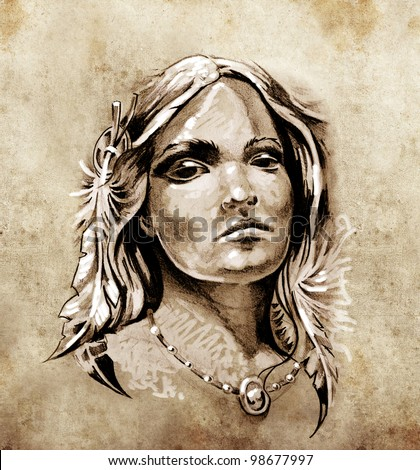 Sketch of tattoo art, Lovely and passionate look from a tent of American Indian girl - stock photo
