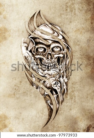 Sketch of tattoo art, monster with eight ball - stock photo