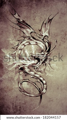 Sketch of tattoo art, stylish dragon illustration  on vintage paper, handmade illustration - stock photo