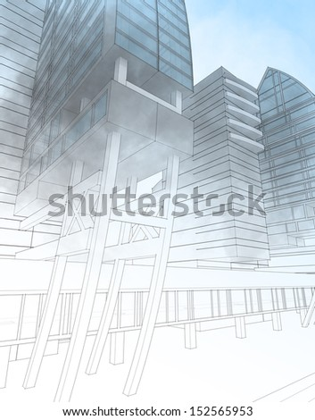 Sketch of the business center. From drawing to implementation. - stock photo