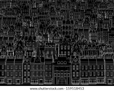 Sketch of the city, drawn by a white outline - stock photo