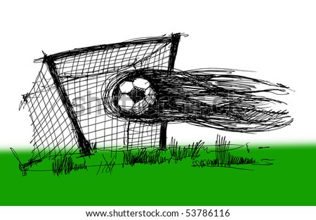 Sketch on a football theme skan image - stock photo