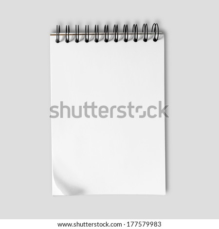 Sketch paper on neutral gray background, clipping path.  - stock photo