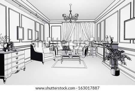 sketch style classic interior illustration  - stock photo