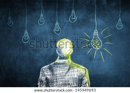Sketch successful businessman concept with idea light bulb - stock photo