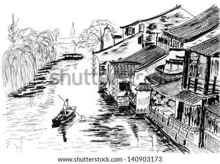 sketch The river village chinese wuzhen - stock photo