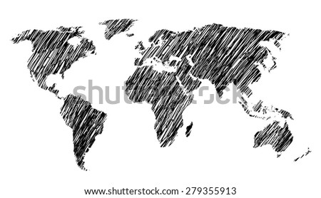 Sketch World Map. Isolated on white background. - stock photo