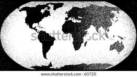 Sketched / etched world in charcoal - stock photo