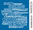 Sketched hand drawn election text design background - stock photo