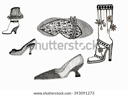 sketches of different shoes on a white background - stock photo