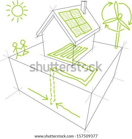 Sketches of sources of renewable energy (wind turbine, solar/photovoltaic panel, heat/thermal pump) over a simple house drawing (another house diagram from the collection)  - stock photo