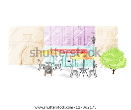 sketches of street cafes in old city - stock photo