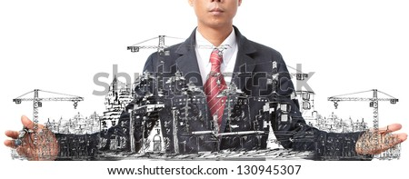 sketching of building construction on white - stock photo