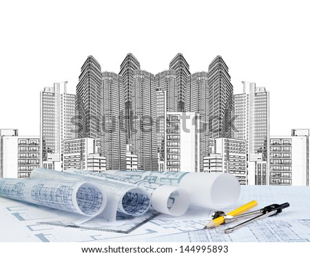 sketching of modern building and plan blueprint - stock photo