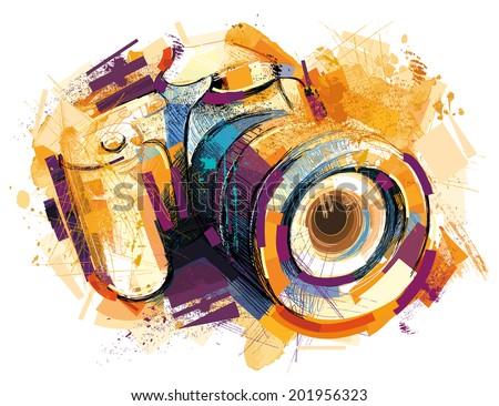 Sketchy Camera - stock photo