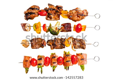 Skewer set with white background - stock photo
