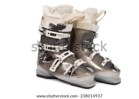 Ski boots isolated on white background - stock photo