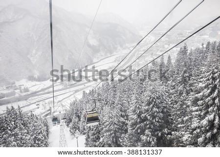 ski cable car at gala yuzawa ski resort - stock photo
