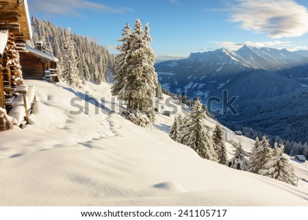 Ski chalet in the mountains of Tyrol - stock photo
