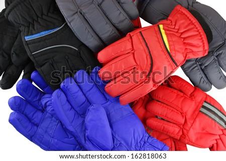 ski gloves isolated on white background  - stock photo