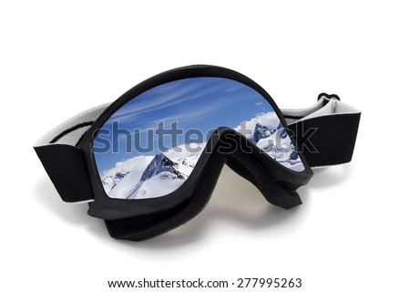 Ski goggles with reflection of mountains at sunny day. Isolated on white background - stock photo