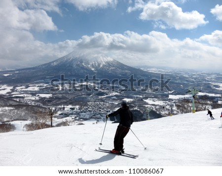 Ski in Hokkaido, Japan - Hirafu, Niseko and Mount Yotei - stock photo