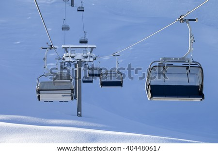 Ski-lift at early morning. Greater Caucasus, Qusar rayon of Azerbaijan. Mount Shahdagh. - stock photo