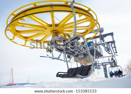 Ski lift cabins - stock photo