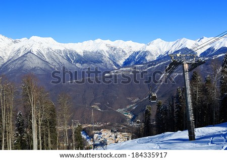 ski lift in Sochi Krasnaya Polyana - stock photo