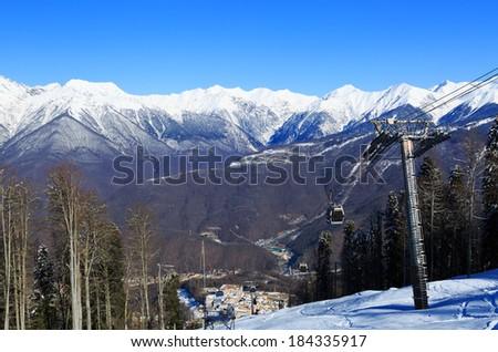 ski lift in Sochi Krasnaya Polyana - stock photo