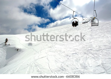 Ski lift. View from bottom. - stock photo