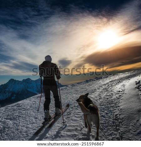 Ski mountaineering silhouette - stock photo