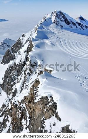 Ski piste in the Alps, Austria - stock photo