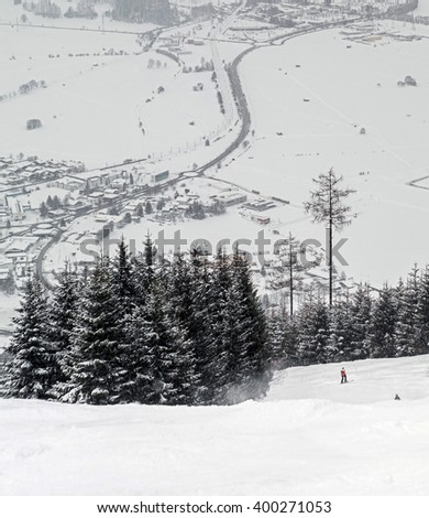 Ski region Zell-am-See, Austria - stock photo