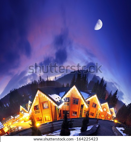 Ski resort at the Bukovel. Dramatic sky. Carpathian, Ukraine, Europe. Beauty world. - stock photo