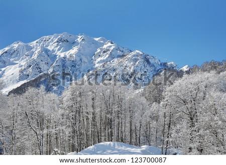 Ski resort in Krasnaya Polyana, Sochi. Cable care on the Aibga ridge - stock photo