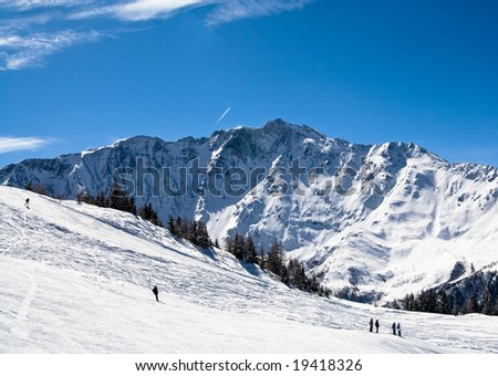 Ski  resort Les Arcs. France - stock photo