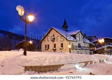 Ski Resort Megeve in French Alps at Night - stock photo