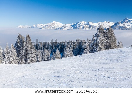 Ski Resort Mythen and Ibergeregg in Swiss Central Alps, Switzerland on February 2015 - stock photo