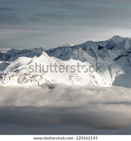 Ski resort of a valley of Zillertal in bad weather - Mayrhofen, Austria - stock photo