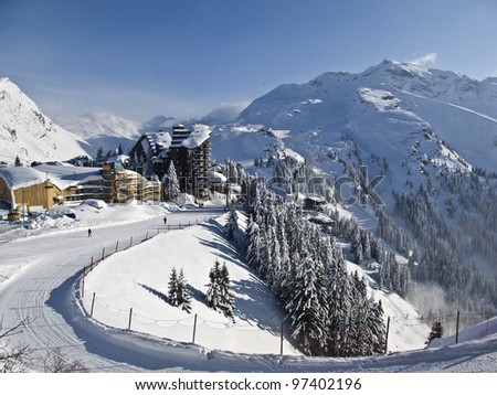 ski resort of Avoriaz in France, - stock photo