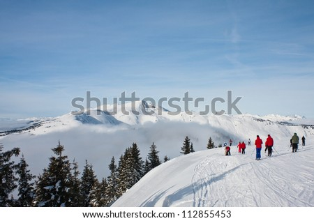 Ski resort Zell am See. Austria - stock photo