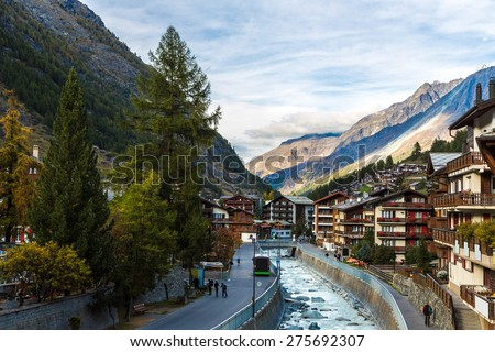 Ski resort Zermatt in a summer day in Switzerland - stock photo
