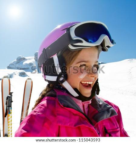 Ski, skiing, winter, snow and sun - stock photo