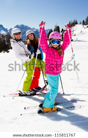 Ski, skiing, winter, snow, sun and fun - stock photo